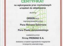 Certyfikat prac montazowych Promag-S.A